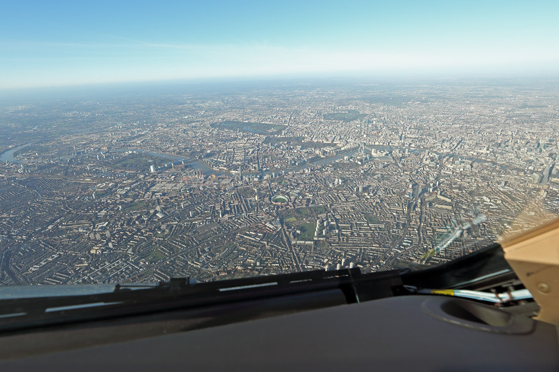 On approach to Runway 27R London Heathrow. The Oval Cricket Ground ahead.