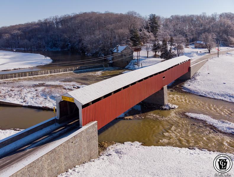 1603 - Snow 2019 - Pine Grove Covered Bridge UASP