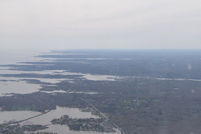 Back over the mainland, about at the CT/RI border, looking west toward Groton, CT.