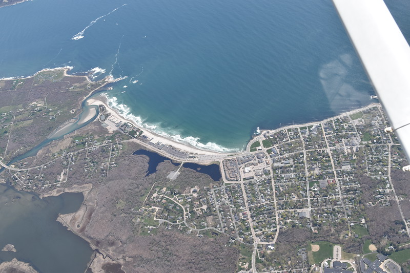 The town of Matunuck (right) and East Matunuck State Beach (left)
