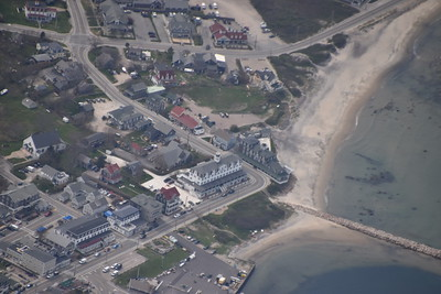 Aerial view of the Surf Hotel, next to the larger hotel that was on all the postcards