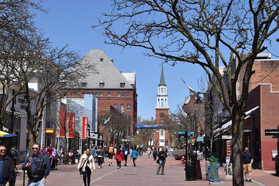 Church Street in downtown Burlington.  Churches are everywhere in New England