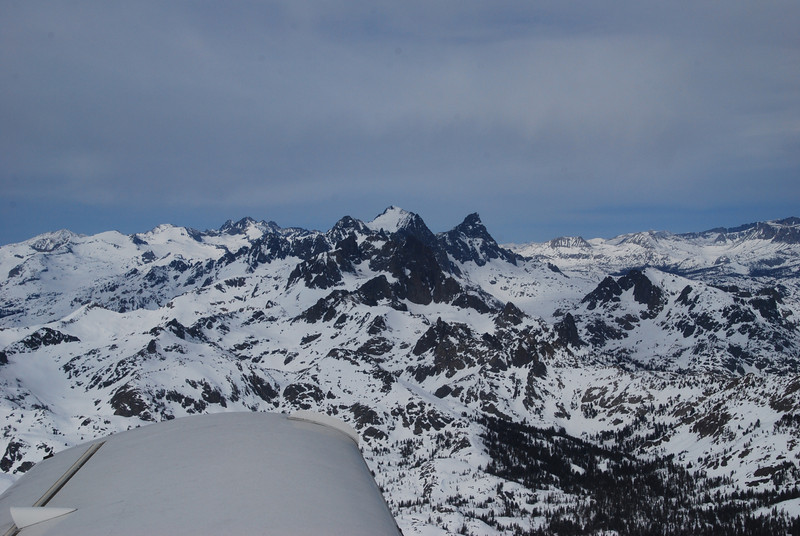 Mt Ritter, highest peak, center (13,143 ft).  Banner peak (12,890 ft), to the right of Mt Ritter.