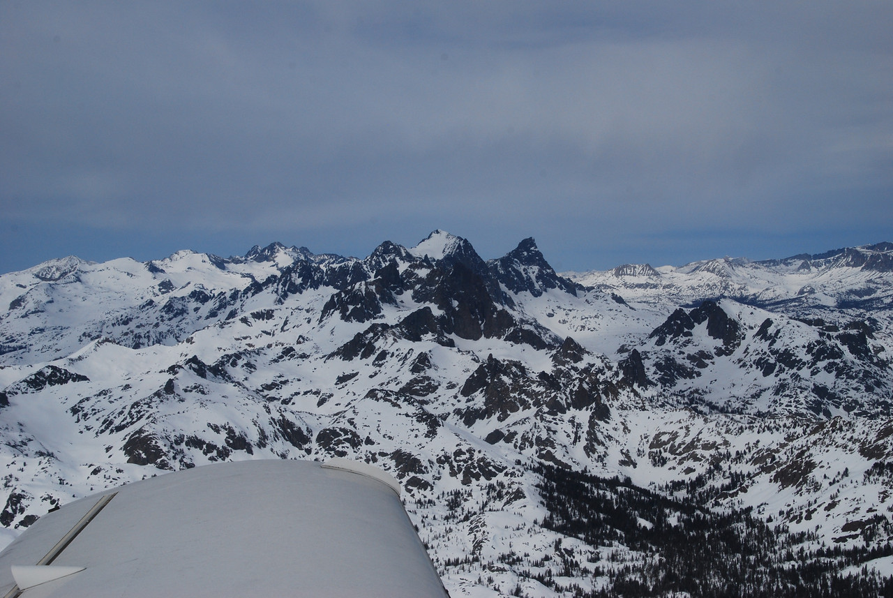 Mt Ritter, highest peak, center (13,143 ft).  Banner peak (12,890 ft), to the right of Mt Ritter.