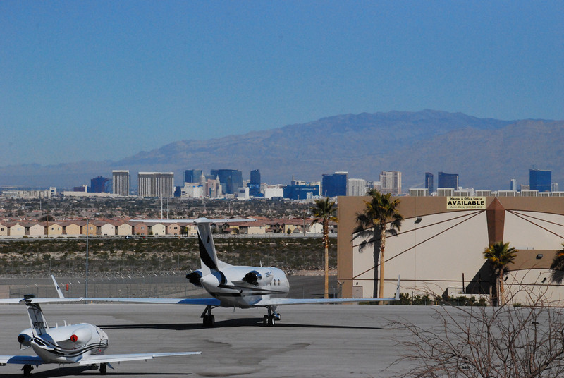 View of the strip from the airport restaurant, which incidentally had NO slot machines.