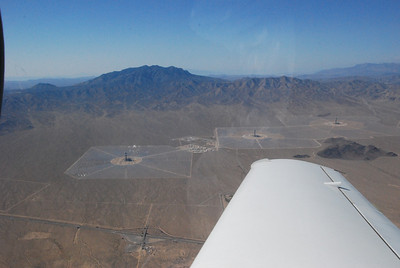 The Ivanpah solar generating station, funded partly by Google, under construction just inside the California border.
