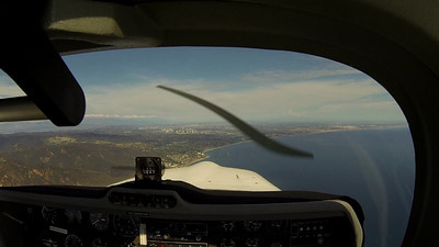 Arriving Santa Monica, Saturday 8/31.  Recorded using GoPro 3 Black on 1080p 24fps, medium view, spot metering.  No, the propeller doesn't actually look like that, it is an artifact of the camera.