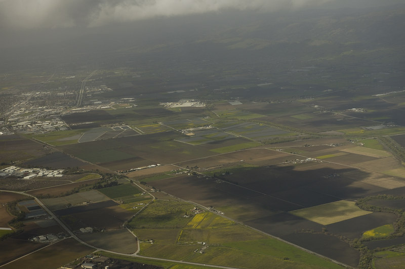 Aerial View of the farmland below.