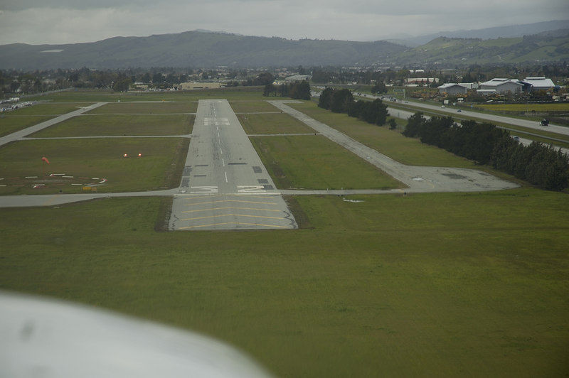 Nearing touchdown on Runway 32 at South County
