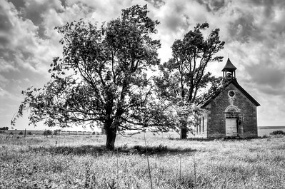 Old Kansas School House outside of Cedar Point, Kansas