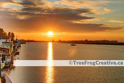 Sunset along Ladner Reach Marina