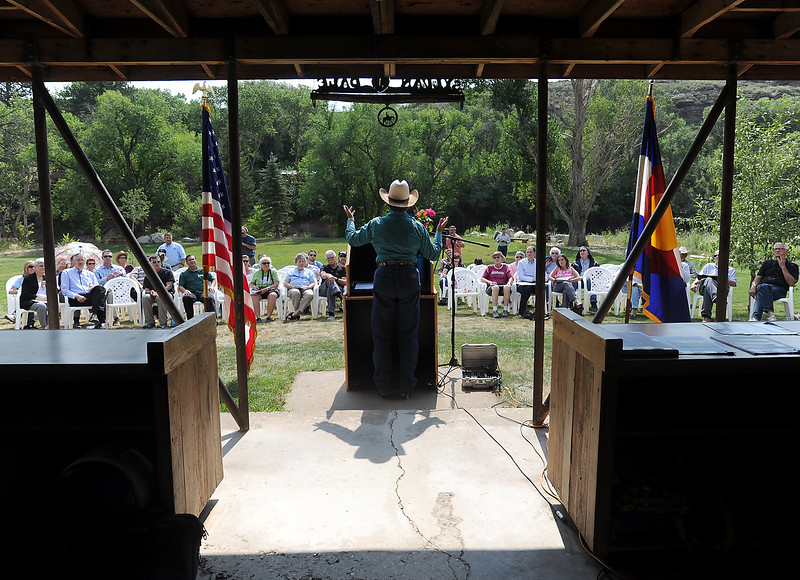 Susan Jessup, owner of the Sylvan Dale Guest Ranch, speaks Friday, July 29, 2016, about surviving the 1976 and 2013 Big Thompson floods during an event at the ranch west of Loveland where weather and public safety experts gathered to commemorate lives lost, discuss flood safety in Colorado, describe improvements in weather forecasting and compare the two major flood events. (Photo by Jenny Sparks/Loveland Reporter-Herald)