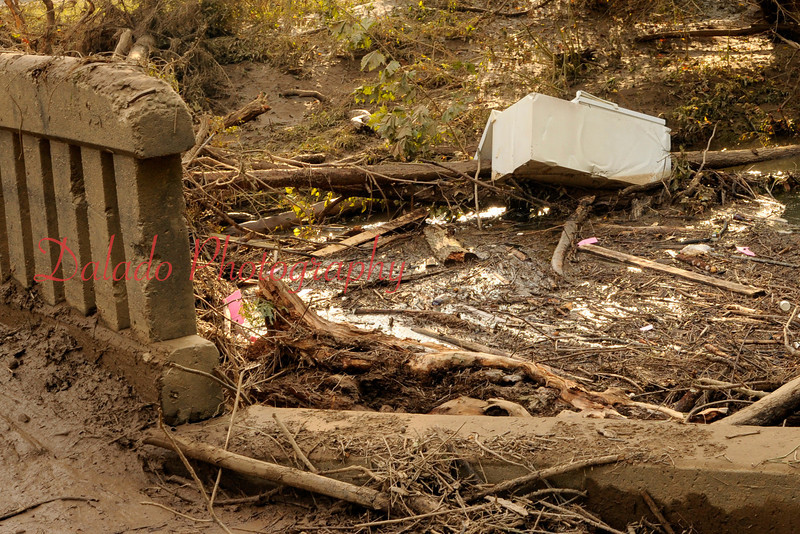Debris piled up at a bridge in Fernville.