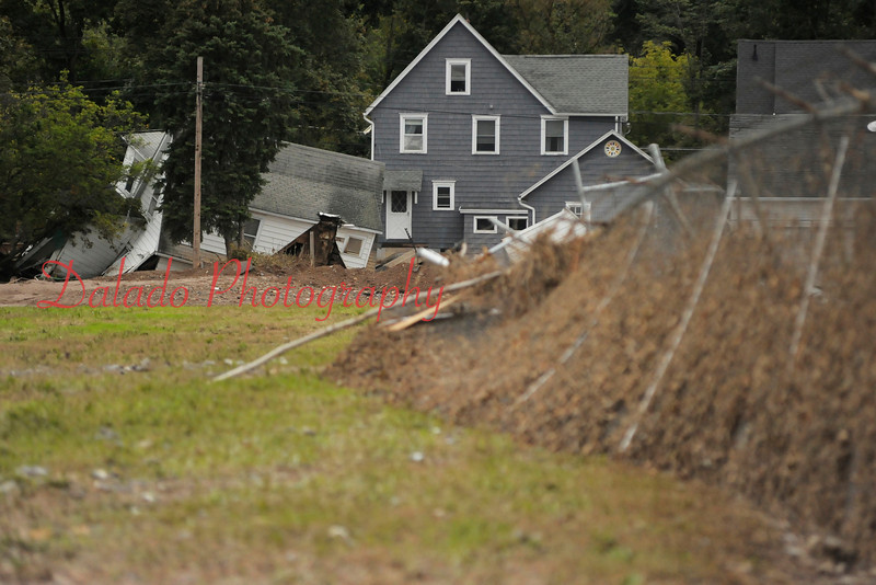 A collapsed perimeter fence at the Bloomsburg Fair.