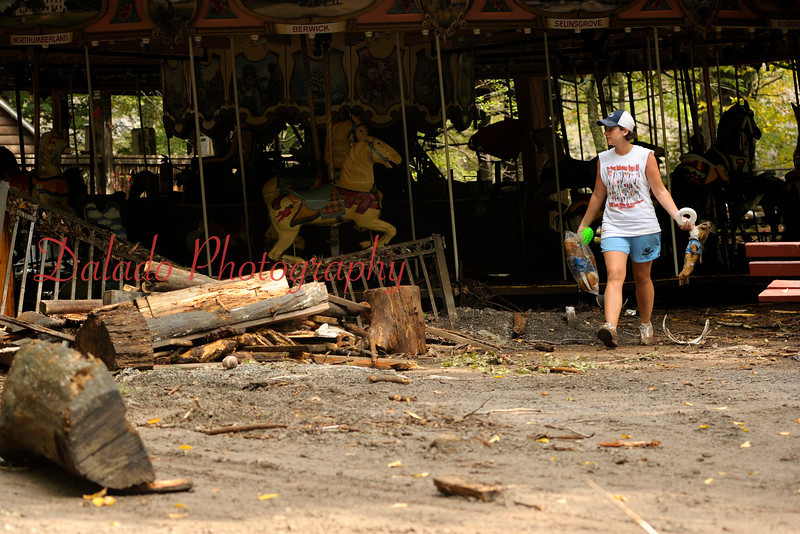 Sam Rarick near the S&G Carousel. According to Dick Knoebel, the 220-year-old log floating in here from its display area.