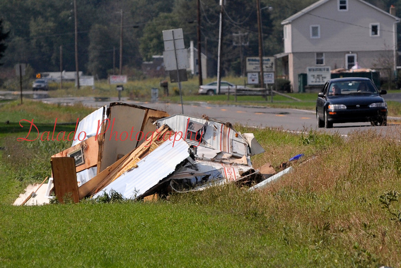 A camper in a field along Rt. 487 that got washed away.