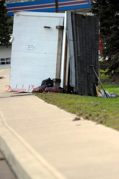 A shed that floated on a sidewalk in Benton.