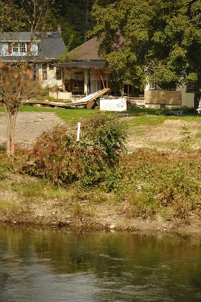 Damaged homes in Charmund.