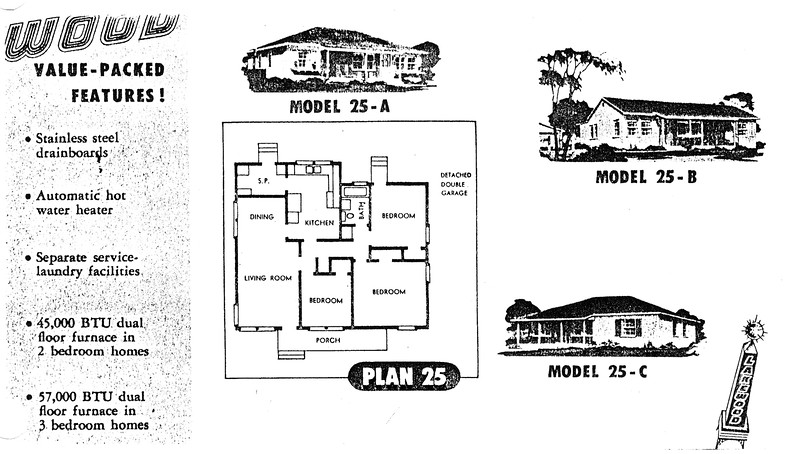 Lakewood Park, Floor Plans for Model 25 A, B, and C
