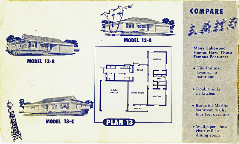 Lakewood Park, Floor Plans for Model 13 A, B, and C
