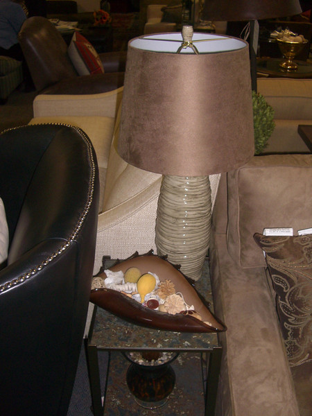 lamp, end table, shell