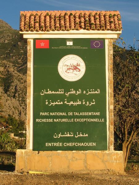 sign of Parc National de Talassemtale (Chefchaouen - Talembote - Et-Tlera-de-Qued-Lau - Bou-Ahmed -4- Bab-berret - Bab-Taza - Chefchaouen)