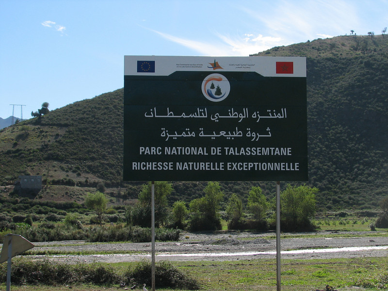 sign of Parc National de Talassemtane (Chefchaouen - Talembote - Et-Tlera-de-Qued-Lau - Bou-Ahmed -4- Bab-berret - Bab-Taza - Chefchaouen)