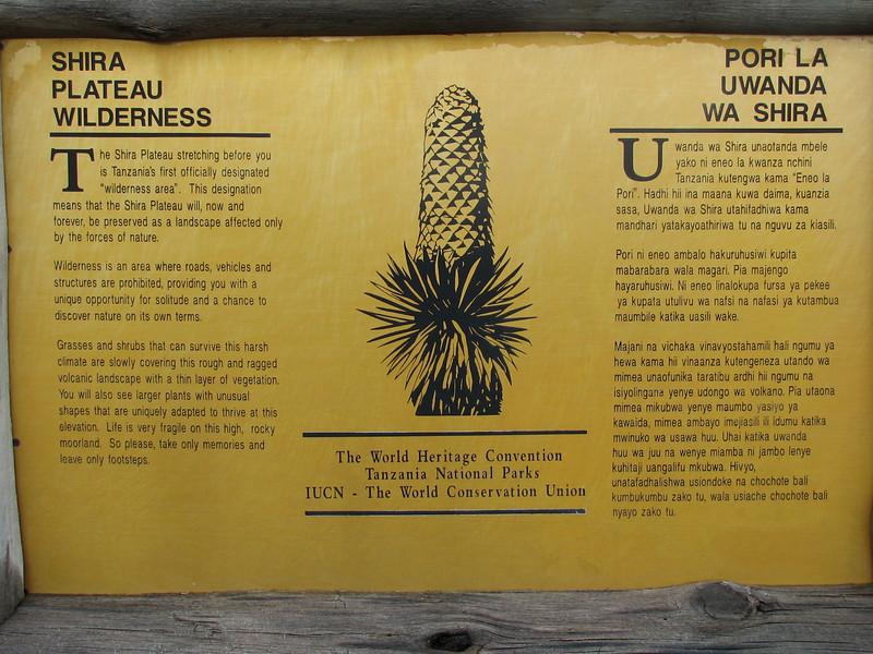 sign, Shira plateau Kilimanjaro (Heath and moorland 2800 - 4000 m) habitat of Lobelia deckenii