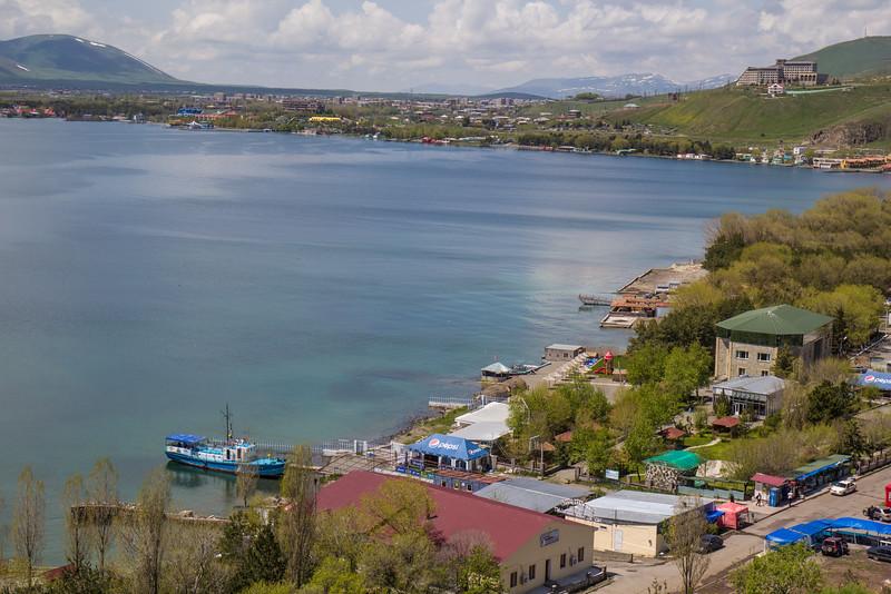 Sevan Lake with the city Sevan