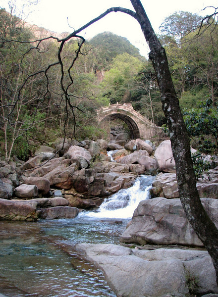 old bridge and waterstream in Huangshan National Park