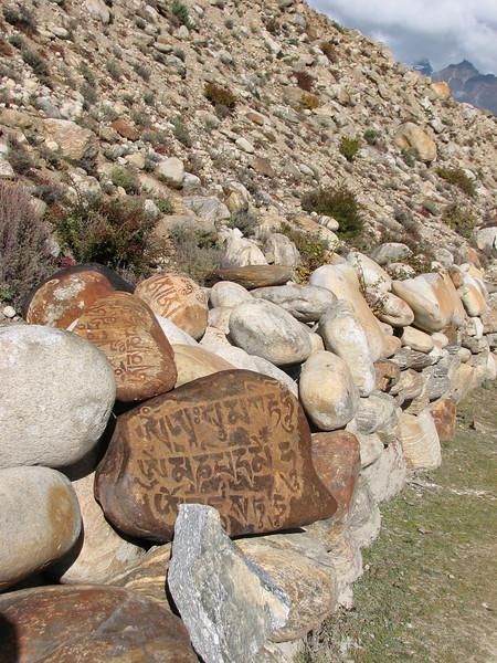 Prayer stones near Kharta Camp 3710m