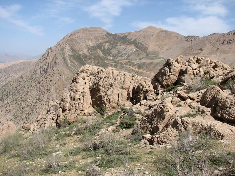 Zagros landscape with pass road