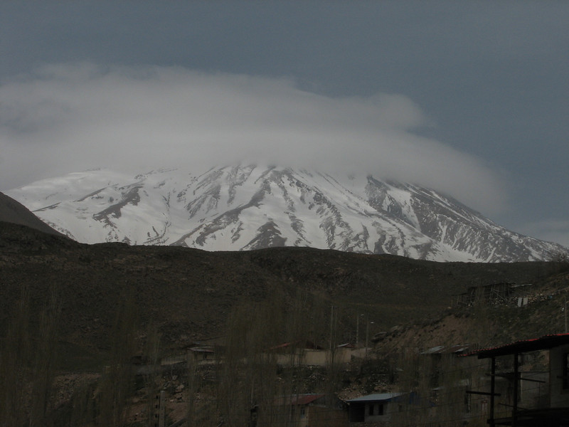 summit of the Damavand  5671m in the clouds