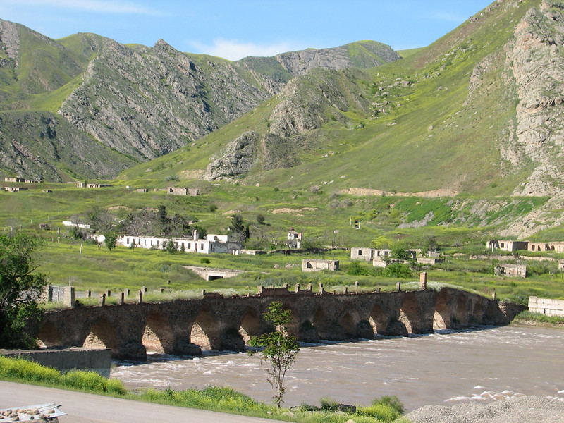 bridge over the river Rud-e-Aras, near the border Iran-Azarbayjan