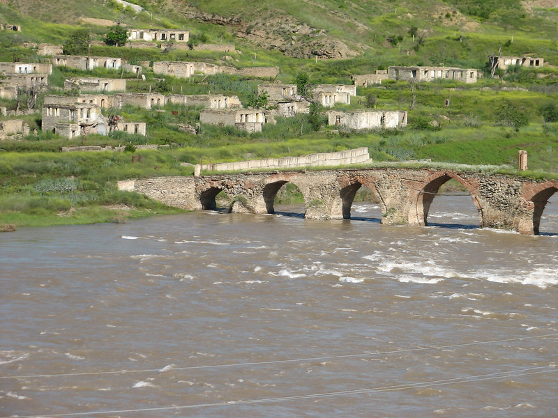 bridge over the river Rud-e-Aras, near the border Iran-Azarbayjan