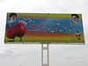 billboard with tulips and an Islamitic message (Koppe Dag mountains NE Iran)