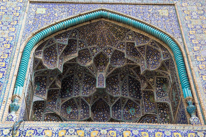 coloured tiles work,  Jameh Mosque