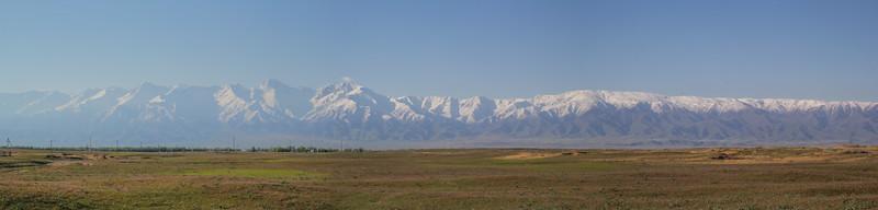 view at Kirghiz Alatau from Moyumqum Sands