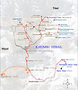 map of trekking and climbing routes in the Khumbu Himal