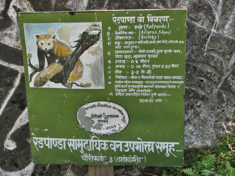 Sign about the living area of the Red Panda, (Ailurus fulgens), Lukla 2800m-Monjo 2900m