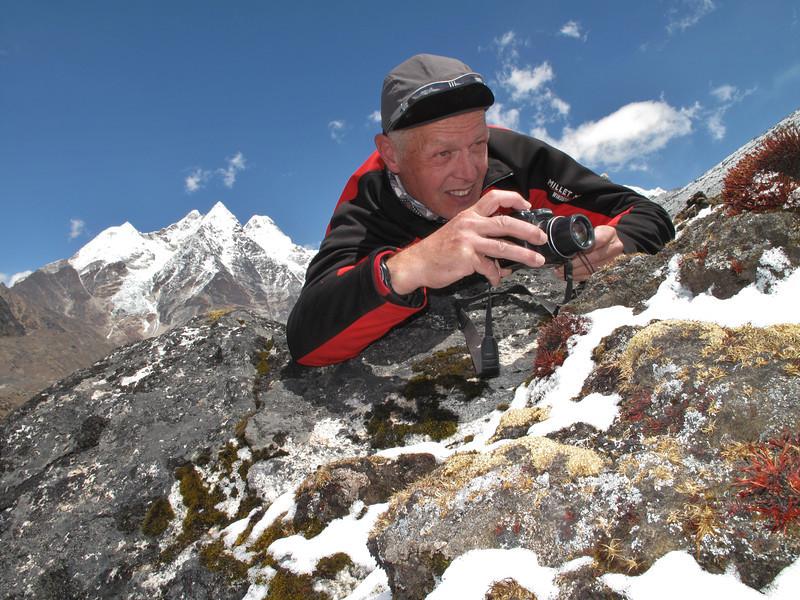 Marijn photographing rock plants  near Camp Khare >5000m