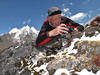 Marijn photographing rock plants  near Camp Khare >5000m