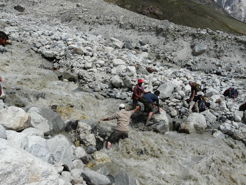 Crossing a wild river
