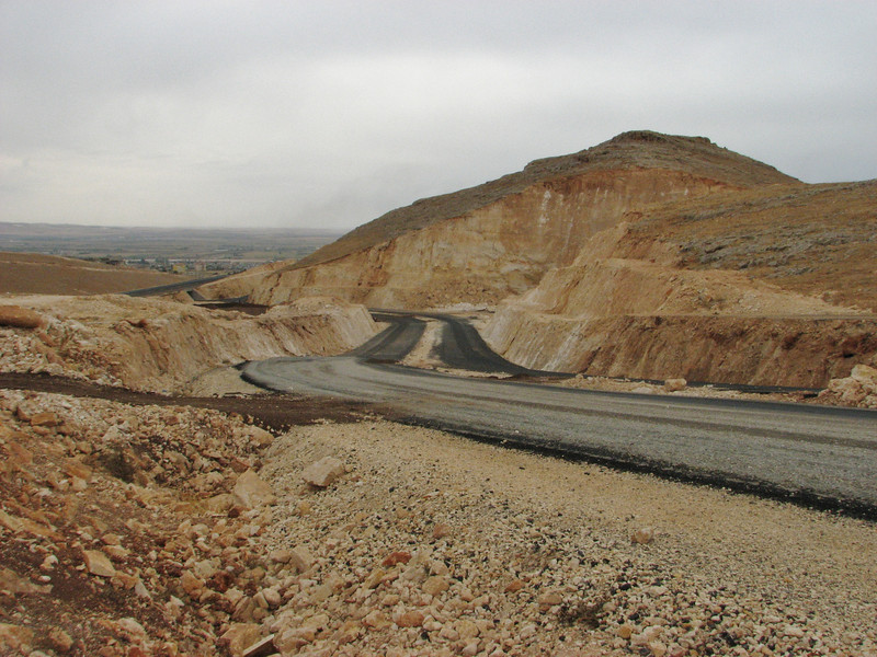 Making new 4lanes ways....destroying of a habitat, 13km South of Sanliurfu (Sanliurfu-Harran), 483m, on limestone-derived red clay [13]