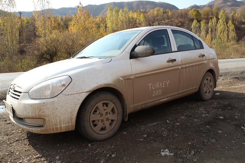 Southeastern Turkey, Oct. 19th-Nov. 3th.   Dirty car after ca. 2800km