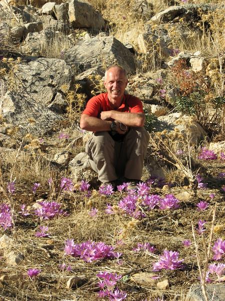 Marijn and Colchicum sanguicolle (dirt road west of Yesilbarak, Akdaglari, SW Turkey)