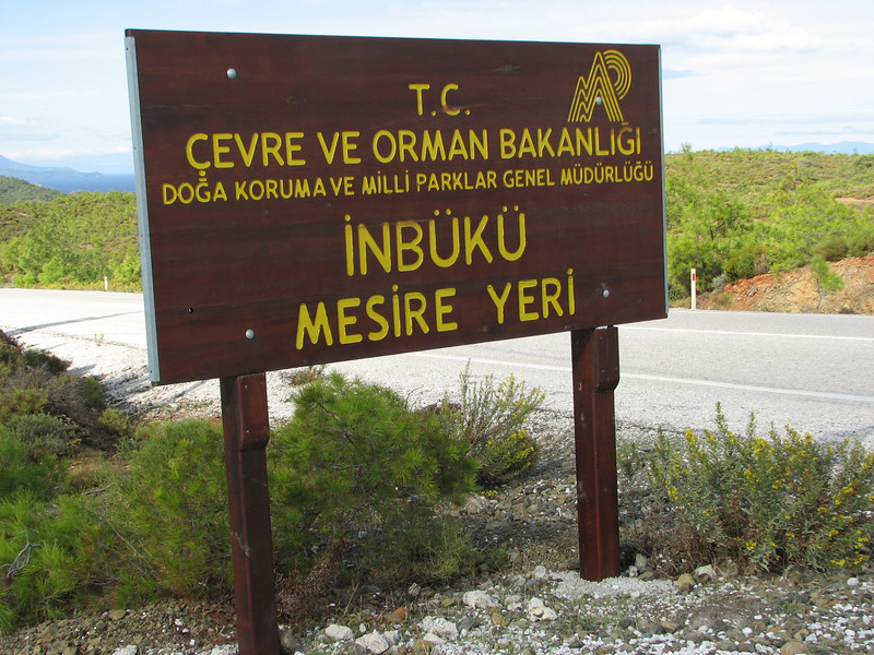 National Park sign (About 10 km past junction to Bozburun on the Marmaris - Datça road, about 150m altitude on serpentine)