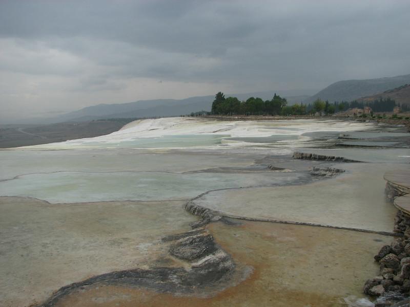 Travertines, hot springs and basins at Hierapolis (Pamukkale)