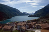 Lago di Molveno with the village Molveno