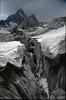 Glacier crevice and Mnt. Pelvoux